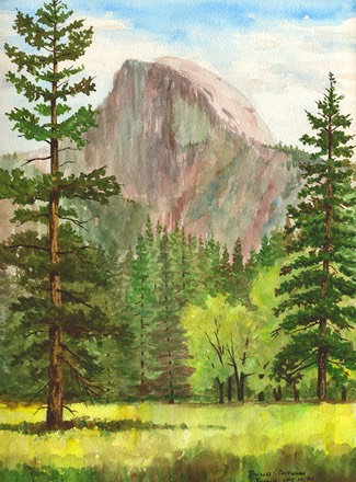 halfdome-with-trees
