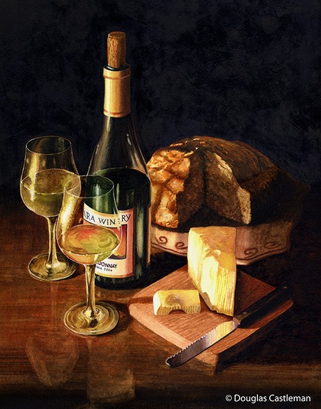 Wine and Cheese | Douglas Castleman Landscape Art Wine And Cheese Art